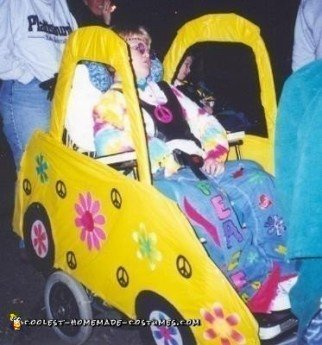 Homemade Hippie in a Love Bug Car Wheelchair Costume