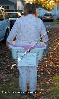 Homemade Human Laundry Basket Adult Halloween Costume Idea