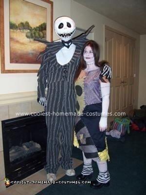 Homemade Jack Skellington and Sally Halloween Costumes