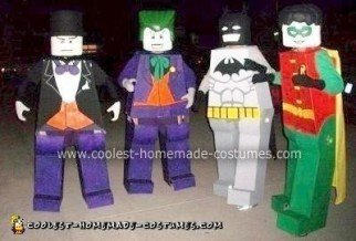 Homemade Lego Batman, Robin, Joker and Penguin Costumes