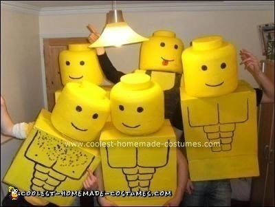 Homemade Lego Men Group Halloween Costume
