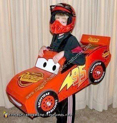 Homemade Lightning McQueen Race Car Costume