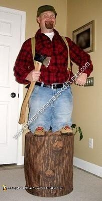 Homemade Little Paul Bunyan Optical Illusion Halloween Costume Idea