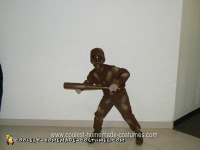 Homemade Living Baseball Statue Halloween Costume Idea