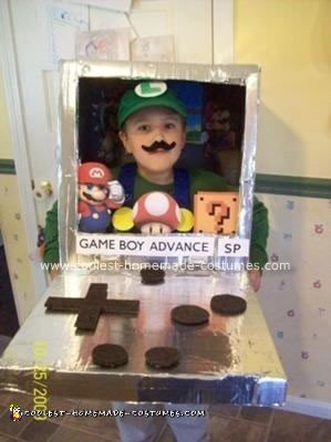 Homemade Luigi Inside the Game Boy Costume