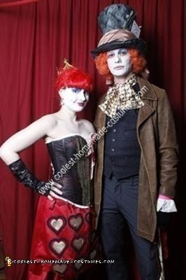 Homemade Mad Hatter and Queen of Hearts Couple Costume