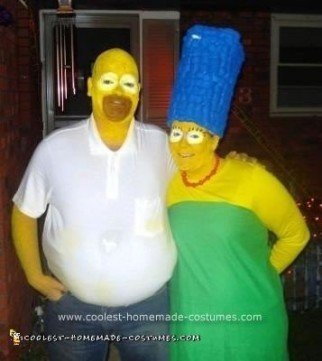 Homemade Marge and Homer Simpson Costume