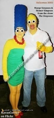 Homemade Marge and Homer Simpson Couples Costume