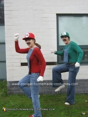 Homemade Mario and Luigi Couple Halloween Costume