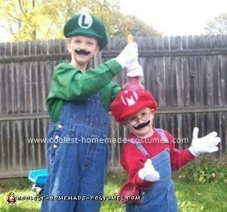 Homemade Mario and Luigi Halloween Costumes