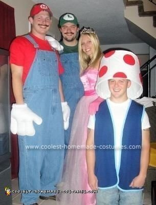 Homemade Mario Bros., Princess Peach and Toad Group Costume