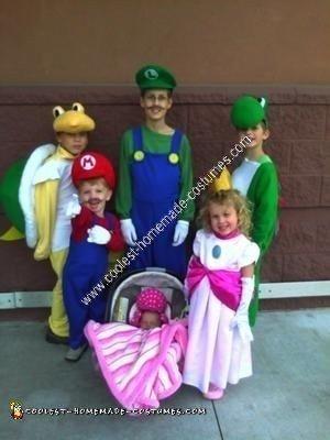 Homemade Mario Children's Group Halloween Costume