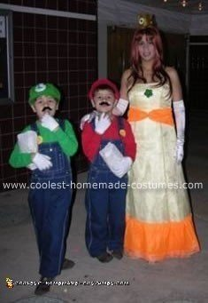 Homemade Mario, Luigi and Princess Daisy Costumes