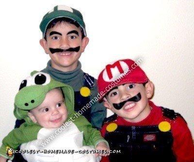Homemade Mario, Luigi, and Yoshi Family Costume