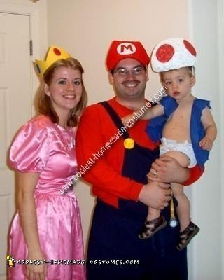 Homemade Mario, Peach and Toad Family Costume