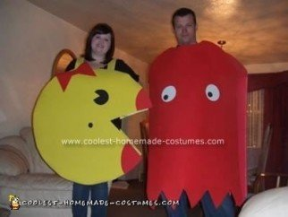Homemade Ms. Pac Man and Blinky the Ghost Couple Costume