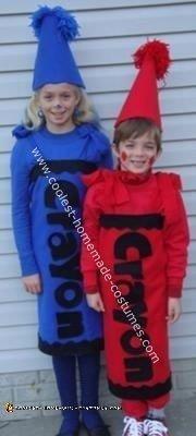 Homemade No Sew Child Crayon Halloween Costume