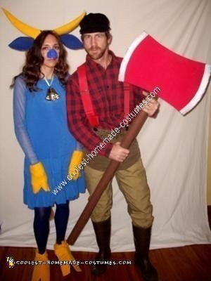 Homemade Paul Bunyan and Babe The Blue Ox Couple Costumes