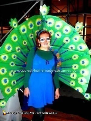 Coolest Peacock Costume with Carton Box Feather Fan