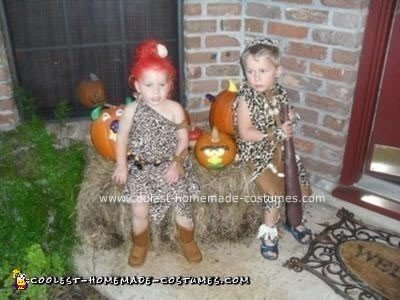 Homemade Pebbles and Bam Bam Costumes