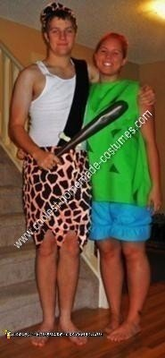 Homemade Pebbles and Bam Bam Couple Halloween Costume