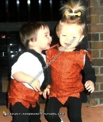 Homemade Pebbles and Bam Bam Toddler Costume Ideas