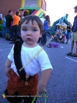 Homemade Pebbles and Bam Bam Toddler Costume Ideas