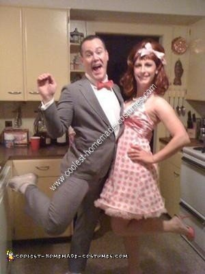 Homemade Pee Wee Herman and Miss Yvonne Couple Halloween Costume