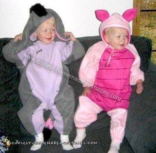 Homemade Piglet and Eeyore Costumes