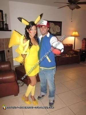 homemade pikachu and ash couple halloween costume ideas