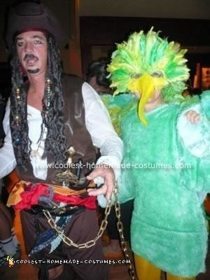 Homemade Pirate and Parrot Couple Costume