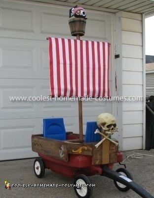 Homemade Pirate Ship Wagon and Pirate Costume