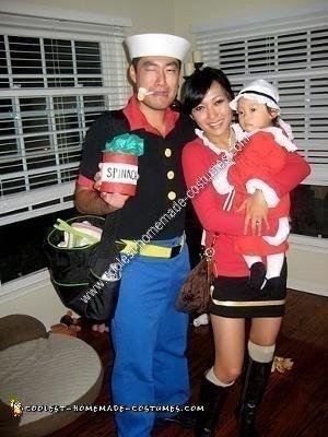 Homemade Popeye, Olive Oyl and Sweet Pea Group Halloween Costume