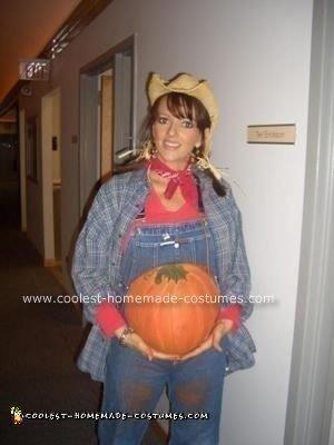 Coolest Homemade Pregnant Pumpkin Farmer Halloween Costume