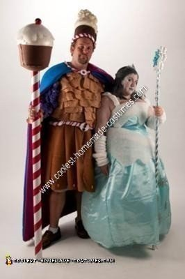 Homemade Queen Frostine and King Candy from Candyland Couple Costume
