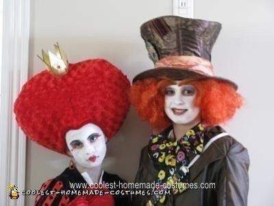 Homemade Queen of Hearts and Mad Hatter Couple Halloween Costumes