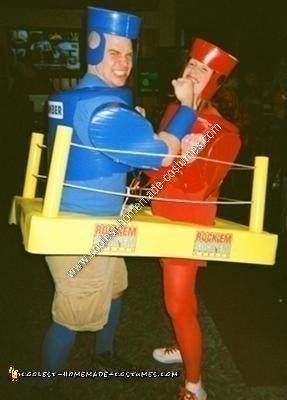 Homemade Rock'em Sock'em Robots Couple Halloween Costume Idea