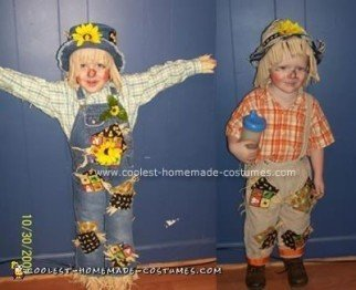 Homemade Scarecrow Siblings Costumes