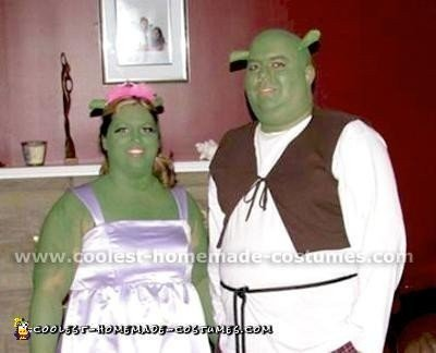 Homemade Shrek and Fiona Couple Costume
