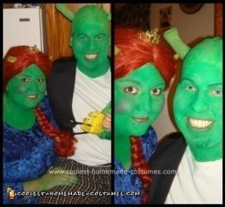 Homemade Shrek and Fiona Couple Halloween Costume