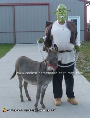 Homemade Shrek Costume and His Donkey