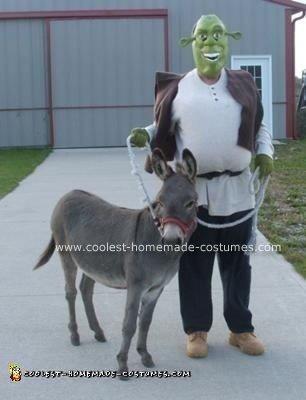 Homemade Shrek Costume and His Donkey