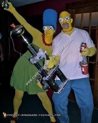 Homemade Simpsons Couple Halloween Costume Idea