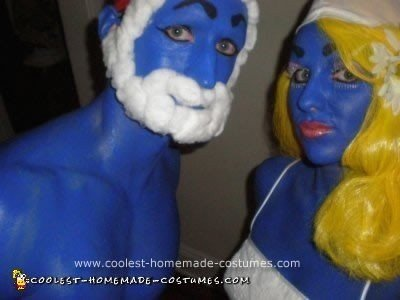 Homemade Smurfette and Pappa Smurf Adult Halloween Costumes