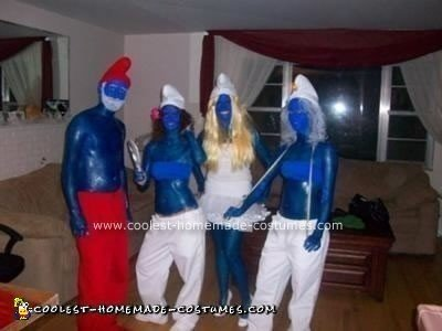 Homemade Smurfs Group Costume