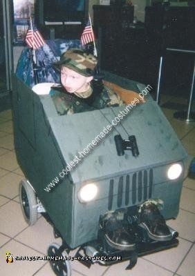 Homemade Soldier in a Humvee Wheelchair Costume