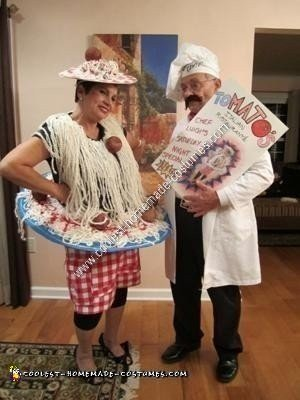 Homemade Spaghetti and Meatballs Halloween Couple Costume Idea