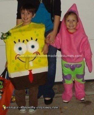 Homemade Spongebob and Patrick Star Costumes