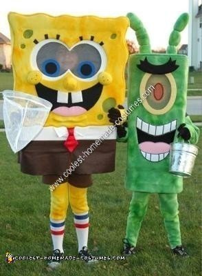 Homemade SpongeBob and Plankton Couple Costume
