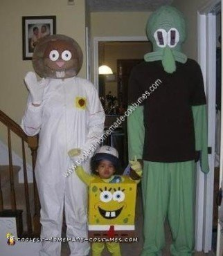 Homemade Spongebob, Squidward and Sandy Cheeks Group Costume